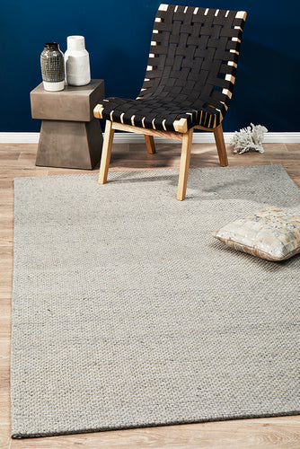 Oskar Felted Wool Striped Rug Grey