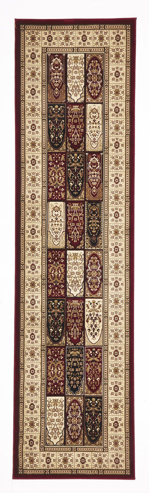 Traditional Panel Design Burgundy with Ivory Rug