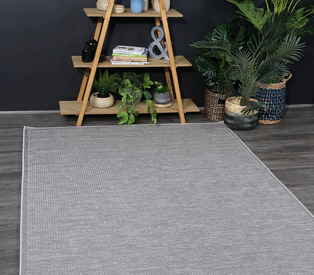 Outdoor indoor Courtyard Grey Rug