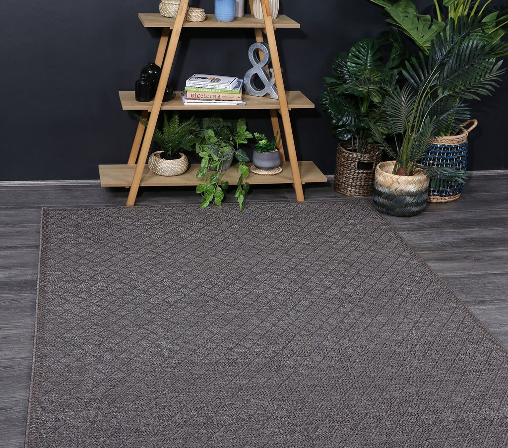Outdoor indoor courtyard Brown Diamond Rug