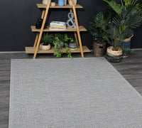 Outdoor indoor Courtyard Grey and Blue Rug