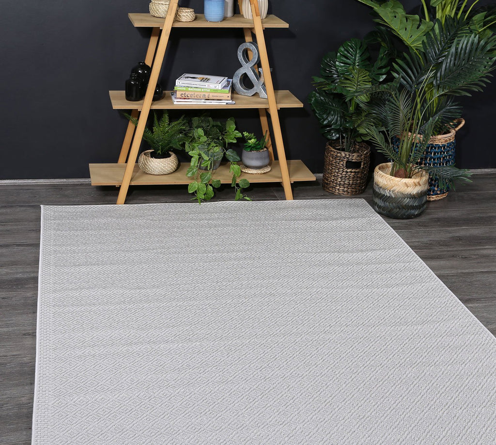 Outdoor indoor Courtyard Grey Diamond Rug