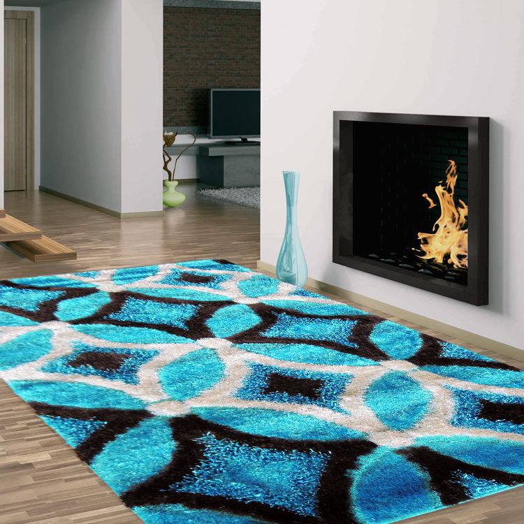 Shaggy Soft Rug Luxury Blue