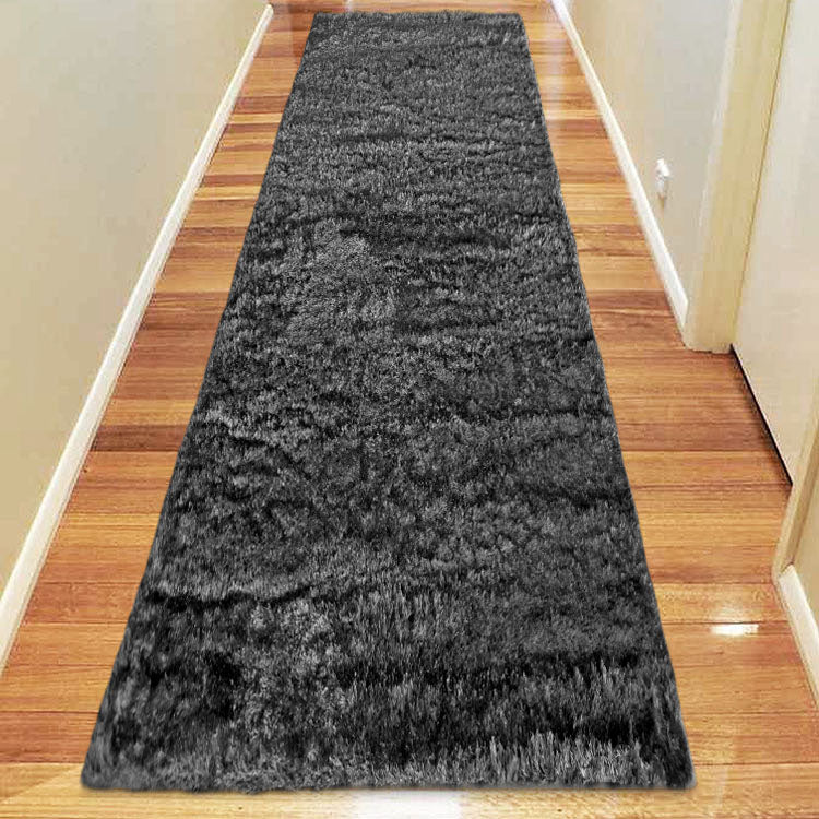 Silky Soft Shaggy Dark Grey Runner Rug