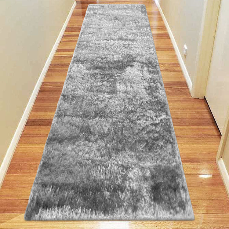 Silky Soft Shaggy Light Grey Runner Rug