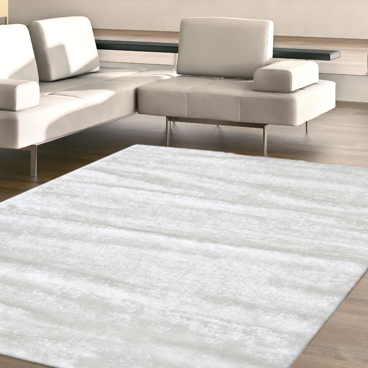 Silky Soft Shaggy White Rug