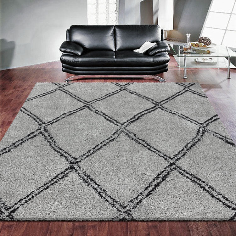 Serenate Sun Tribal Shaggy Grey Rug