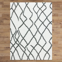 Serenate Moon Tribal Shaggy Cream Rug