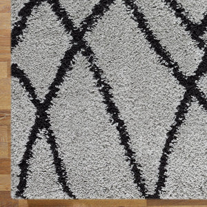 Serenate Moon Tribal Shaggy Grey Runner Rug
