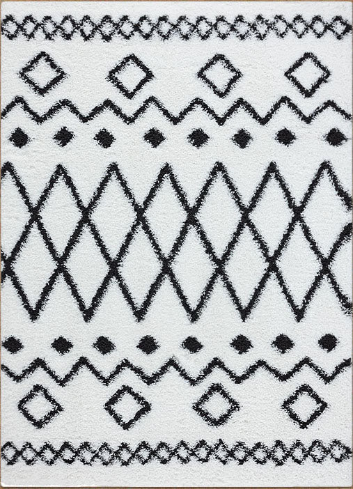 Serenate Star Tribal Shaggy Cream Rug