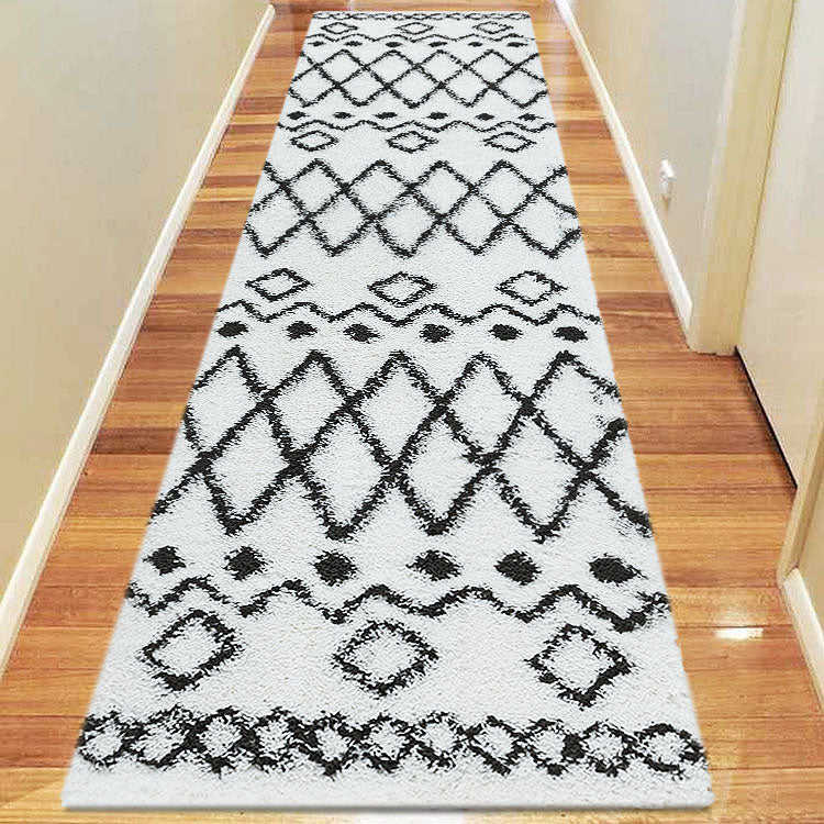 Serenate Star Tribal Shaggy Cream Runner Rug
