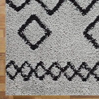 Serenate Star Tribal Shaggy Grey Runner Rug