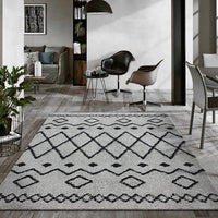 Serenate Star Tribal Shaggy Grey Rug
