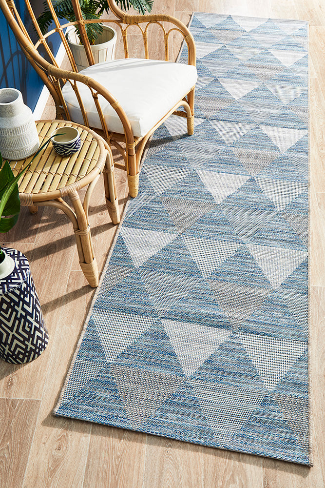 Courtyard Ego Blue Runner Rug