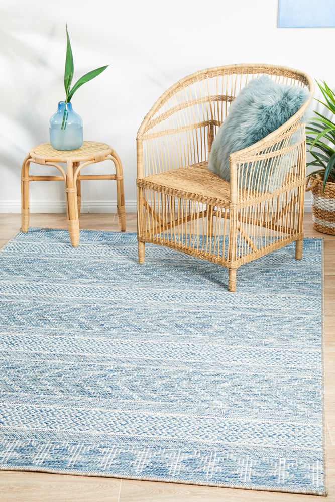 Courtyard Patio Blue Rug
