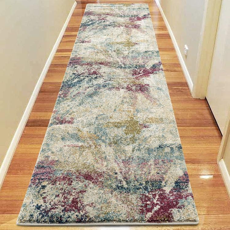 Central Town Multi Green Runner Rug
