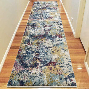 Central Citified Multi Green Runner Rug