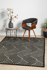 Edfu Theme Black & Gold Rug