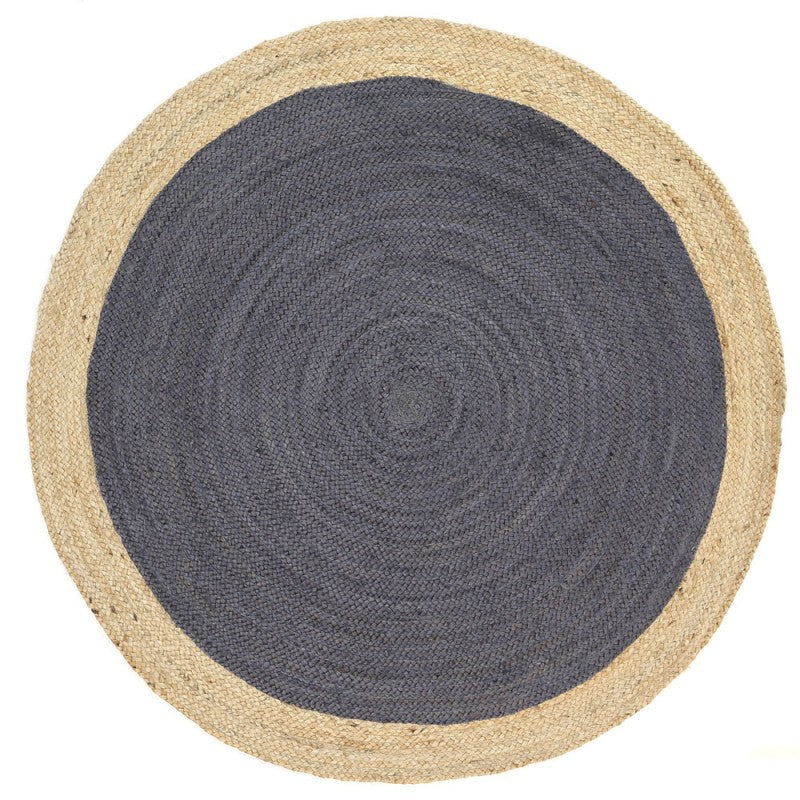 Hampton Grey Centre Jute Round Rug