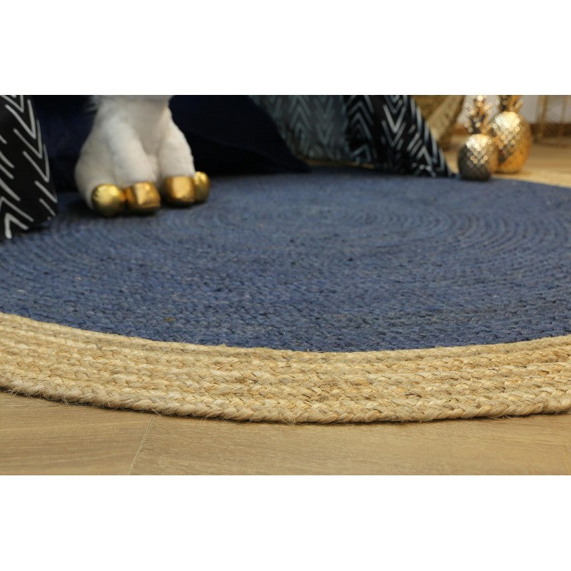 Hampton Navy Blue Centre Jute Round Rug