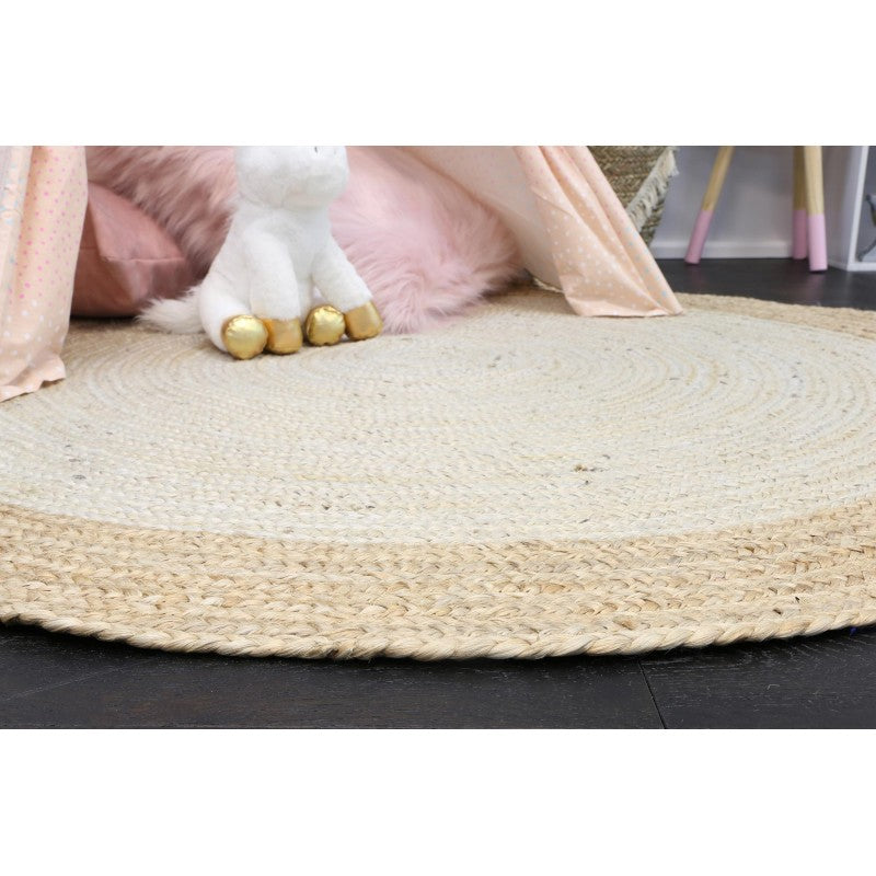 Hampton Light Pink Centre Jute Round Rug