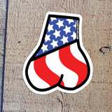 Tactical American Flag Balls Sticker