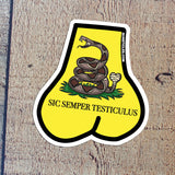 Gadsden Flag Inspired Balls Sticker