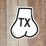 Balls Shaped State of Texas Oval Sticker