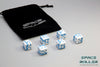 A 6 Dice Set of Space Roller Dice MK II Set - Blue Groove White Finish