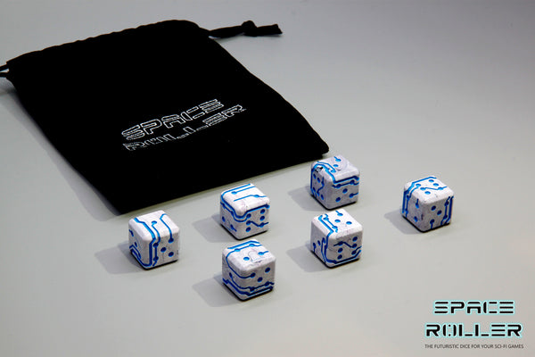A 6 Dice Set of Space Roller Dice MK II Set - Blue Groove Marble Finish