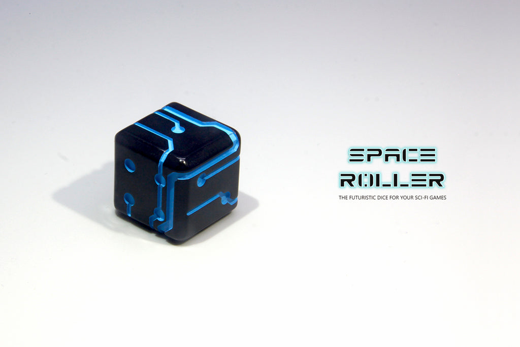 1 Die of Space Roller Dice MK II - Blue Groove Black Finish