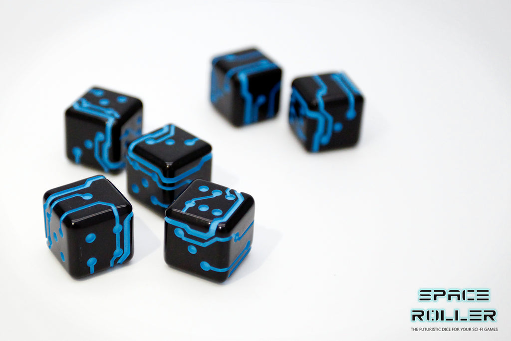 A 6 Dice Set of Space Roller Dice MK II - Blue Groove Black Finish