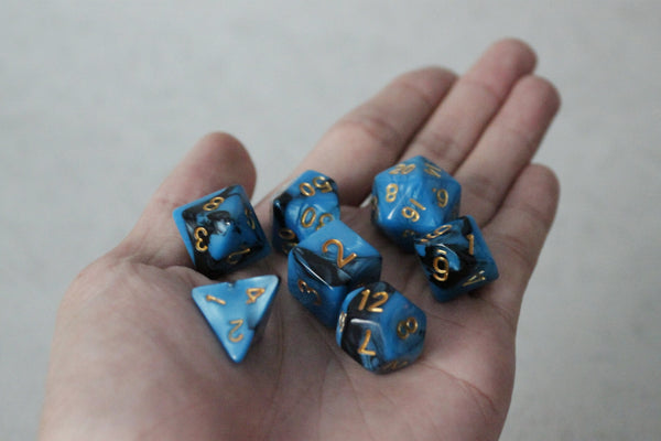 D.O.U Plastic Polyhedral Set - Black Hole Series - Blue