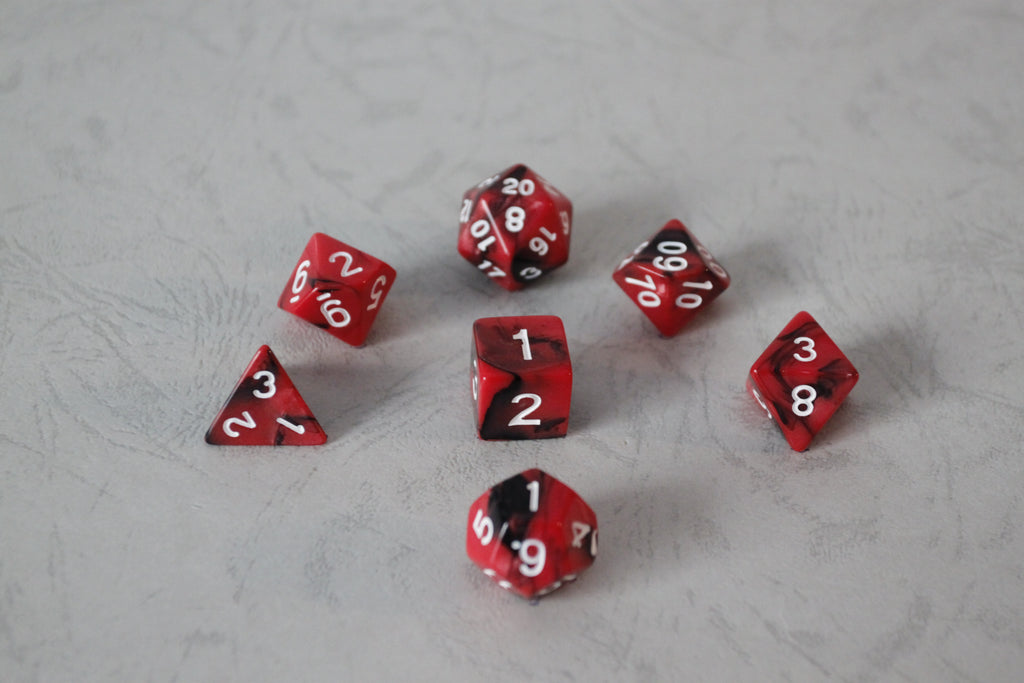 D.O.U Plastic Polyhedral Set - Black Hole Series - Red