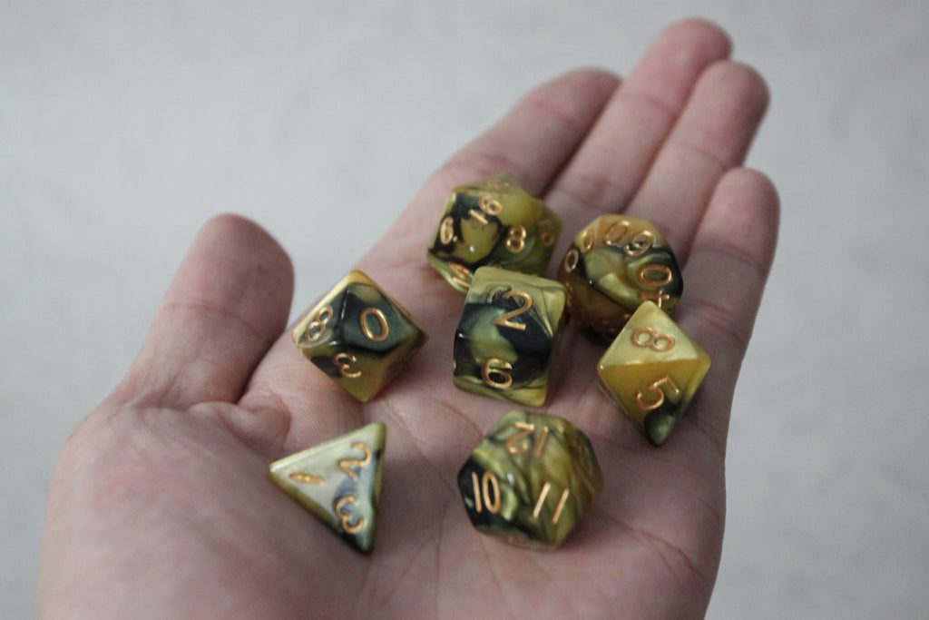 D.O.U Plastic Polyhedral Set - Black Hole Series - Yellow
