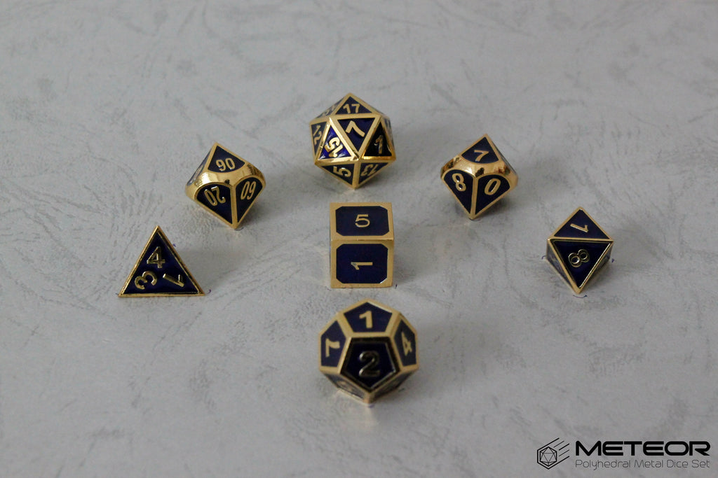 Meteor Polyhedral Metal Dice Set- Blue with Golden Frame