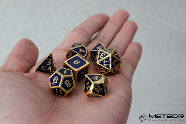 Meteor Polyhedral Metal Dice- Blue with Golden Frame