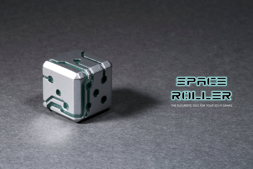 Space Roller Dice - Blue Glow Silver Finish ( Discontinued )