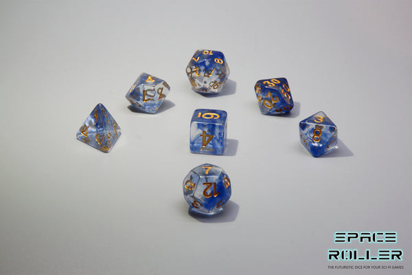 Plastic Polyhedral Set - Freeze Moment Series - Blue