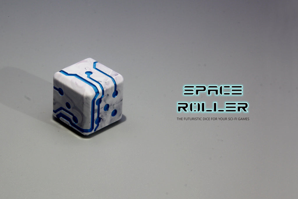 1 Die of Space Roller Dice MK II - Blue Groove Marble Finish