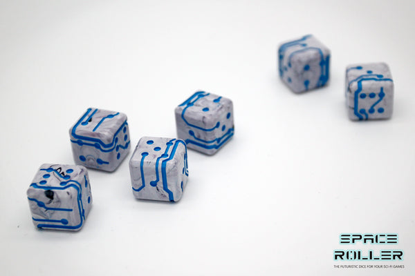 A 6 Dice Set of Space Roller Dice MK II Set - Blue Line Marble Finish