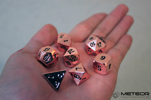 Meteor Polyhedral Metal Dice- Copper