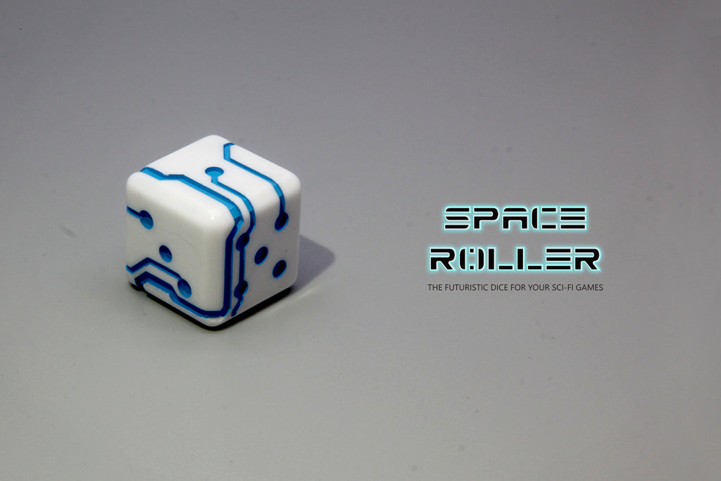 1 Die of Space Roller Dice MK II - Blue Groove White Finish