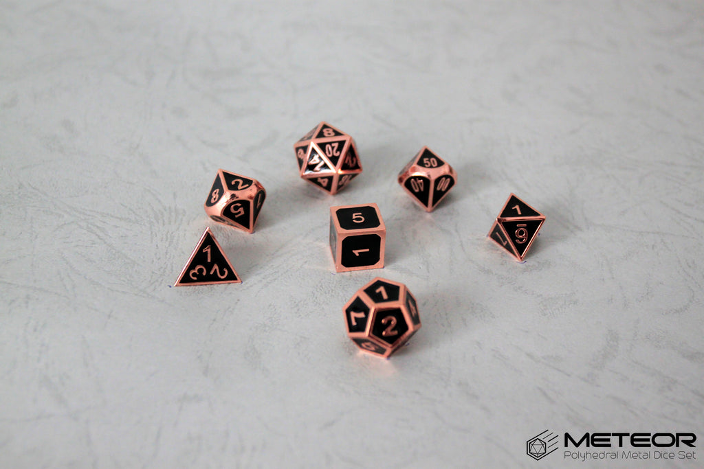 Meteor Polyhedral Metal Dice Set- Black with Copper Frame