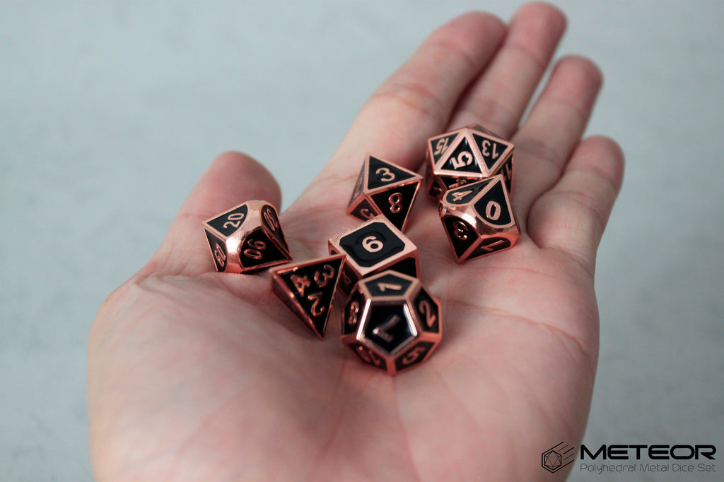 Meteor Polyhedral Metal Dice- Black with Copper Frame
