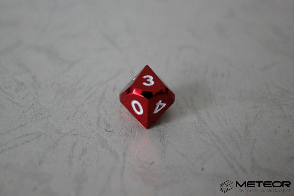 D10 Meteor Polyhedral Metal Dice- Red