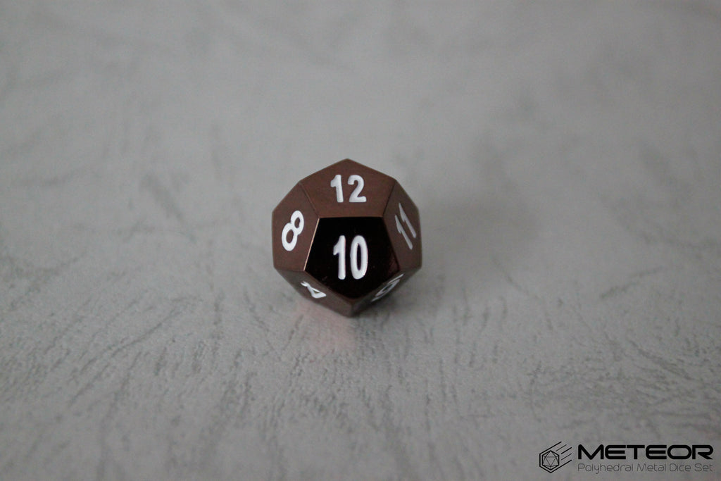 D12 Meteor Polyhedral Metal Dice- Brown