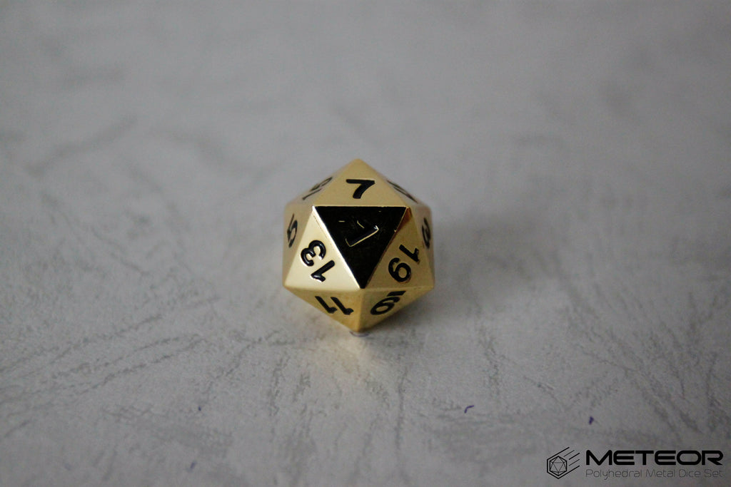 D20 Meteor Polyhedral Metal Dice- Gold