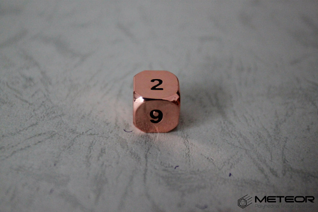 D6 Meteor Polyhedral Metal Dice- Copper