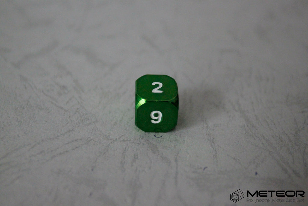 D6 Meteor Polyhedral Metal Dice- Green